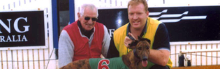 Lance Whitnall with Mentor Maurice Fitzpatrick and First Winner Wipe Off Five