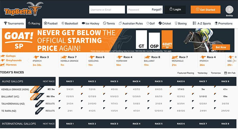 TopBetta home page