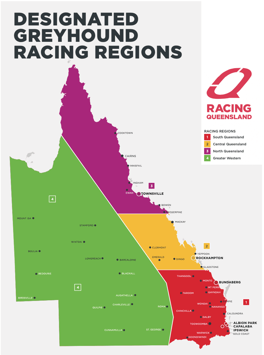 QLD greyhound regions